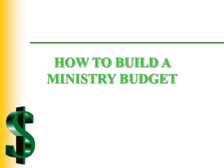 HOW TO BUILD A MINISTRY BUDGET