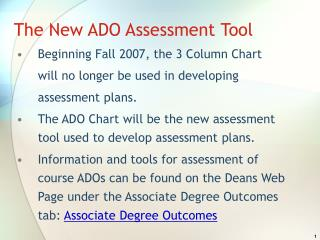 The New ADO Assessment Tool