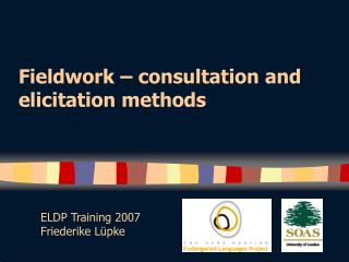 Fieldwork – consultation and elicitation methods