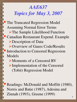 AAE637 Topics for May 3, 2007