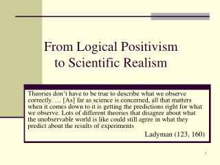 From Logical Positivism to Scientific Realism