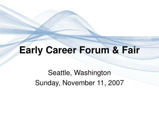 Early Career Forum & Fair