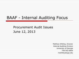 BAAF - Internal Auditing Focus