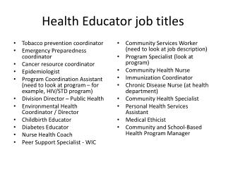 Health Educator job titles