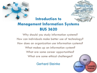 Introduction to Management Information Systems BUS 3620