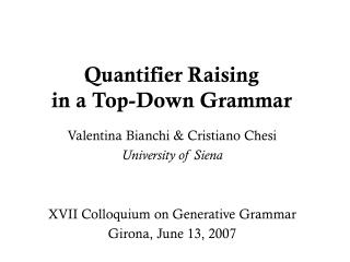 Quantifier Raising in a Top-Down Grammar