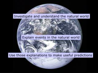 Investigate and understand the natural world
