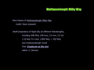 Multiwavelength Milky Way