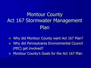Montour County Act 167 Stormwater Management Plan