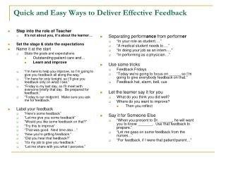 Quick and Easy Ways to Deliver Effective Feedback