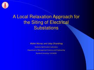 A Local Relaxation Approach for the Siting of Electrical Substations