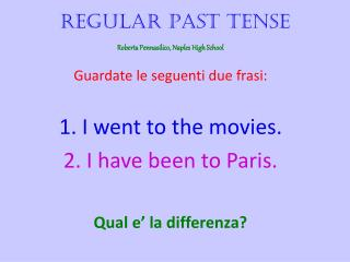 Regular Past Tense