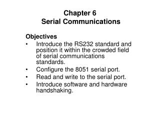 Chapter 6   Serial Communications