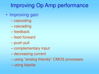 Improving Op Amp performance