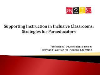 Professional Development Services Maryland Coalition for Inclusive Education