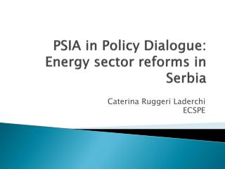PSIA in Policy Dialogue:  Energy sector reforms in Serbia