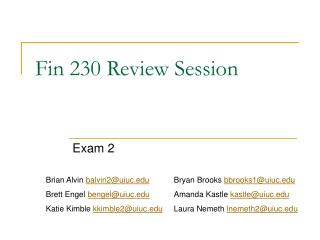 Fin 230 Review Session