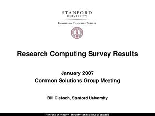 Research Computing Survey Results