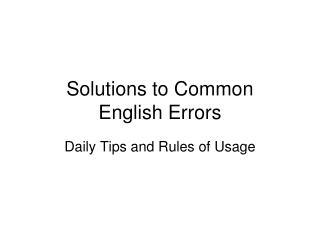Solutions to Common  English Errors
