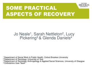 SOME PRACTICAL ASPECTS OF RECOVERY