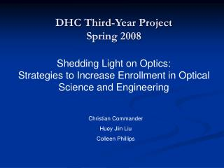 DHC Third-Year Project Spring 2008