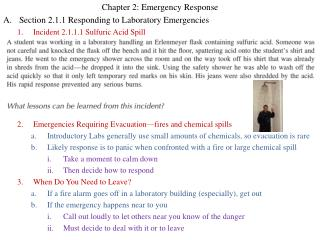 Chapter 2: Emergency Response Section 2.1.1 Responding to Laboratory Emergencies Incident 2.1.1.1 Sulfuric Acid Spill