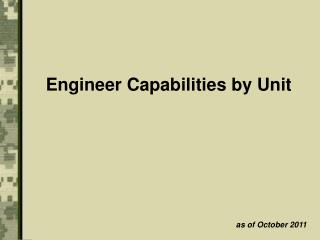 Engineer Capabilities by Unit