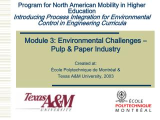 Program for North American Mobility in Higher Education Introducing Process Integration for Environmental Control in En