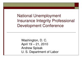 National Unemployment Insurance Integrity Professional Development Conference