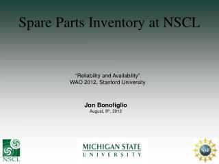 Spare Parts Inventory at NSCL
