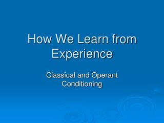 How We Learn from Experience