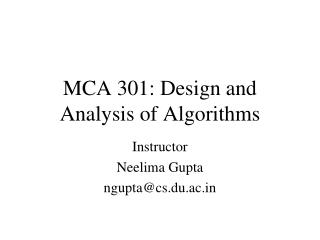 MCA  301: Design and Analysis of Algorithms