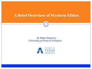 A Brief Overview of Western Ethics