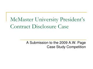 McMaster University President's Contract Disclosure Case
