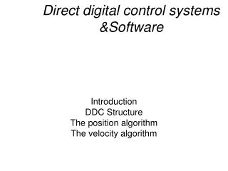 Direct digital control systems &Software