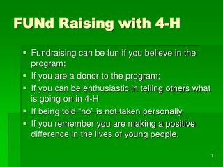 FUNd Raising with 4-H