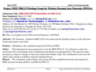 Project: IEEE P802.15 Working Group for Wireless Personal Area Networks (WPANs) Submission Title: DBO-CSS PHY Presentati