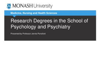 Research Degrees in the School of Psychology and Psychiatry