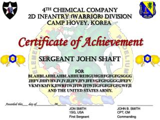 4 th  CHEMICAL COMPANY 2d INFANTRY (WARRIOR) DIVISION CAMP HOVEY, KOREA
