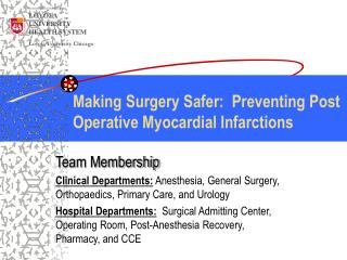 Making Surgery Safer:  Preventing Post Operative Myocardial Infarctions