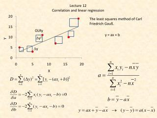 Lecture 12 Correlation  and  linear regression