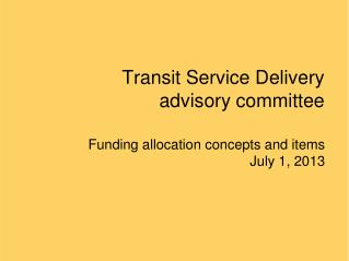 Transit Service Delivery advisory committee