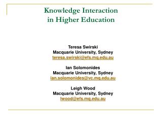Knowledge Interaction  in Higher Education