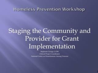 Homeless Prevention Workshop