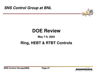 SNS Control Group at BNL