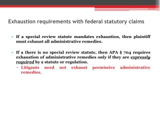 Exhaustion requirements with federal statutory claims