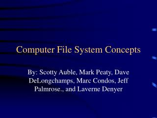 Computer File System Concepts