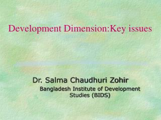 Development Dimension:Key issues