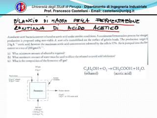 Università degli Studi di Perugia  -  Dipartimento di Ingegneria Industriale Prof. Francesco Castellani - Email: castell