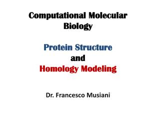 Computational Molecular Biology Protein Structure and Homology Modeling Dr. Francesco  Musiani